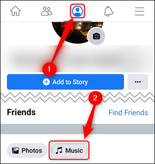"""Appuyez sur l'icône Profil, puis appuyez sur """"Musique."""""""
