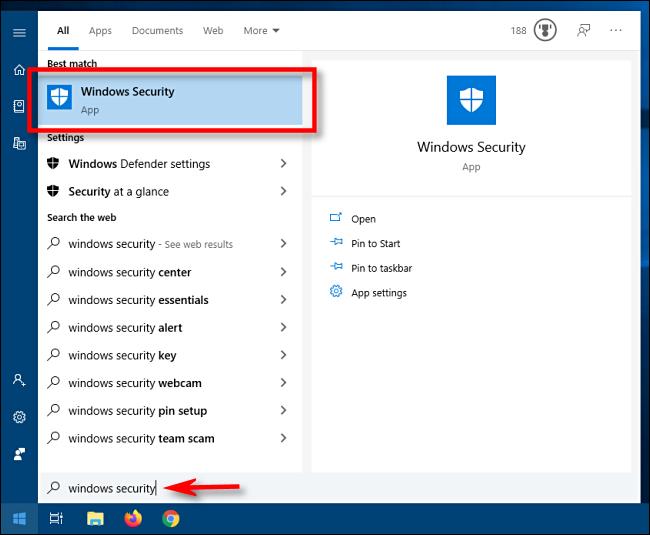 Lancez la sécurité Windows à partir du menu Démarrer de Windows 10