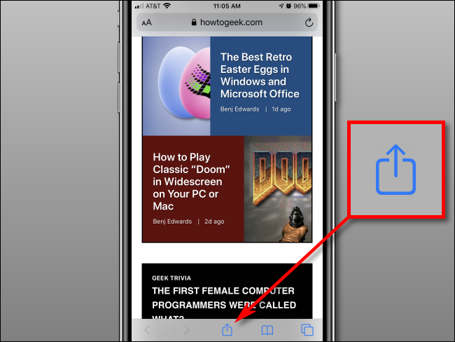 Bouton de partage de bande dans Safari sur iPhone