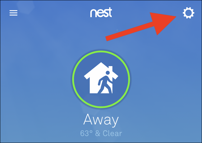Sélectionnez l'icône d'engrenage dans le coin supérieur droit de l'application
