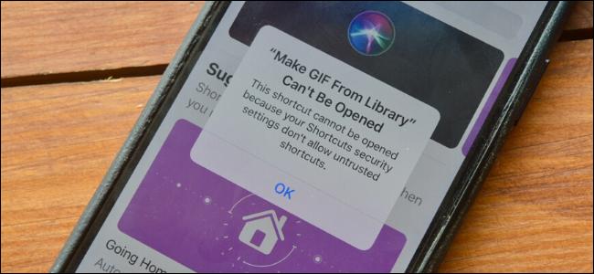 Un iPhone affichant l'alerte dans l'application Raccourcis indiquant qu'un raccourci non approuvé ne peut pas être installé.