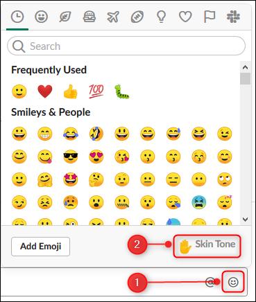 """Le panneau emoji avec le """"Teint"""" option en surbrillance"""