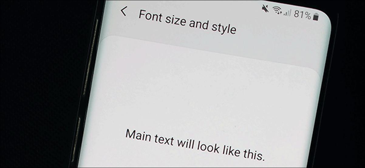 Le menu Paramètres de police sous Android
