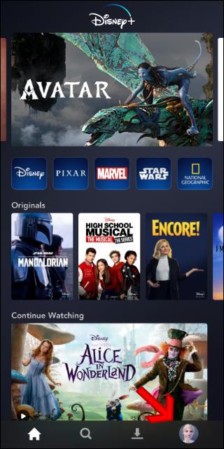 Écran principal de l'application Disney +