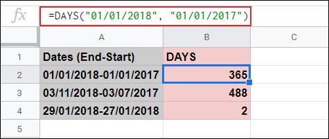 La fonction DAYS utilisée pour calculer les jours entre deux dates dans Google Sheets