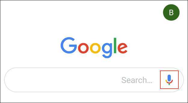 L'icône du microphone dans l'appli Google.