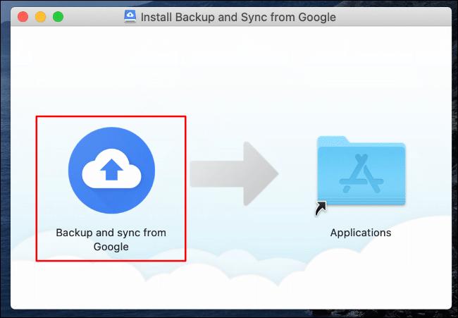 Dans le programme d'installation de Google Drive Backup and Sync pour Mac, faites glisser l'icône Sauvegarder et synchroniser depuis Google vers l'icône du dossier Applications sur la droite