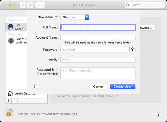 """le """"Utilisateurs et groupes"""" forme dans """"Préférences de système"""" sur un Mac."""