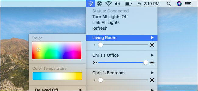 Le menu Colors for Hue sur macOS.