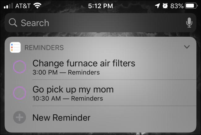 """UNE """"Rappels"""" widget dans la vue Aujourd'hui sur un iPhone."""