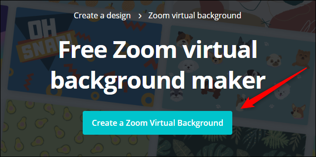 """Cliquez sur """"Créer un arrière-plan virtuel de zoom"""" sur le site Web de Canva."""