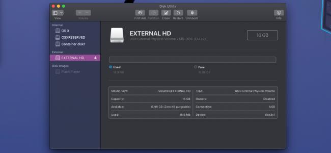 écran principal de l'utilitaire de disque