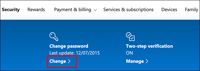"""Cliquez sur """"Changement"""" dans le """"Changer le mot de passe"""" section."""