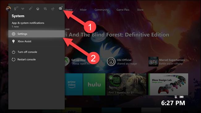 Sous-menu Xbox avec des flèches pointant vers l'engrenage des paramètres et l'option des paramètres.