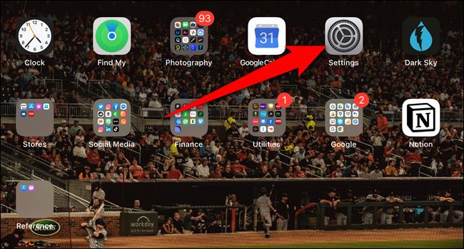 """Ouvrez le """"Réglages"""" app"""