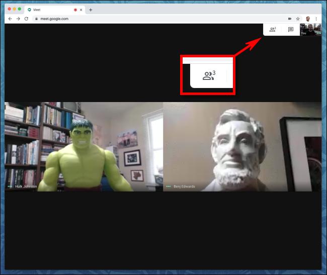 Icône de clic sur Google Meet