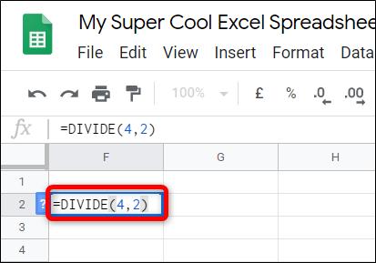"""Type """"= DIVISER (<dividende>, <diviseur>)"""" dans la cellule, en remplaçant <dividend> et <divisor> par les deux nombres que vous souhaitez diviser. » width=»413″ height=»289″ onload=»pagespeed.lazyLoadImages.loadIfVisibleAndMaybeBeacon(this);» onerror=»this.onerror=null;pagespeed.lazyLoadImages.loadIfVisibleAndMaybeBeacon(this);»/></p> <p>Vous pouvez également utiliser les données dans une autre cellule.  Au lieu d'un nombre, tapez le numéro de la cellule et Sheets mettra automatiquement l'entier de cette cellule à sa place.</p> <p><code><img loading="""