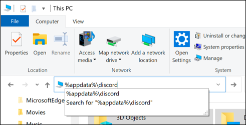 """""""% appdata%  discord"""" dans la zone du fichier de chemin dans l'Explorateur de fichiers Windows."""