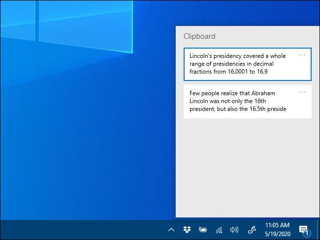La fenêtre contextuelle de l'historique du Presse-papiers sous Windows 10
