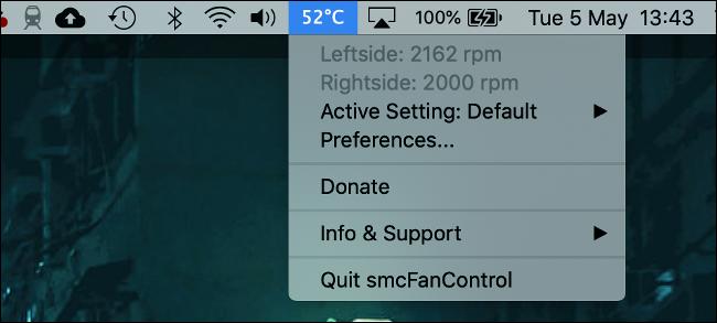 smcFanControl pour macOS avec affichage de la température