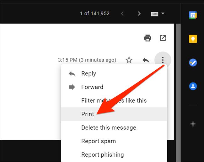Option d'impression dans le menu Plus de Gmail sous Windows