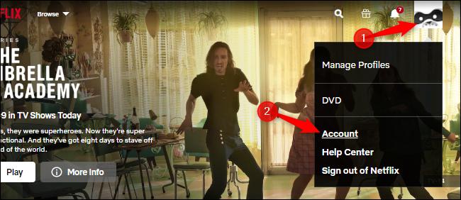 Ouverture des paramètres de compte sur le site Web de Netflix.