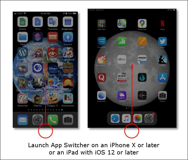 Faites glisser votre doigt vers le haut depuis le bas de l'écran pour lancer le sélecteur d'applications sur les iPhones ou iPads sans boutons d'accueil.