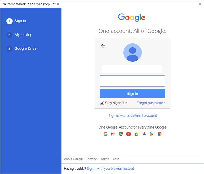 Connectez-vous à votre compte Google lors de la première étape de la configuration de Google Backup and Sync