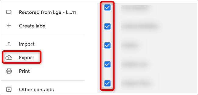 """Sélectionnez les contacts que vous souhaitez exporter, puis cliquez sur """"Exportation."""""""