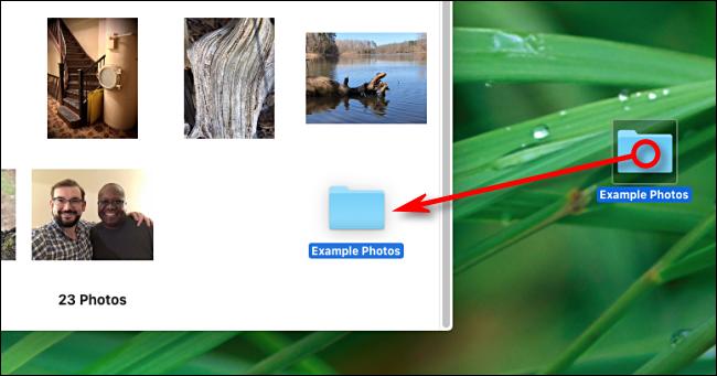 Faites glisser un dossier sur la fenêtre de l'application Photos pour l'importer sur Mac