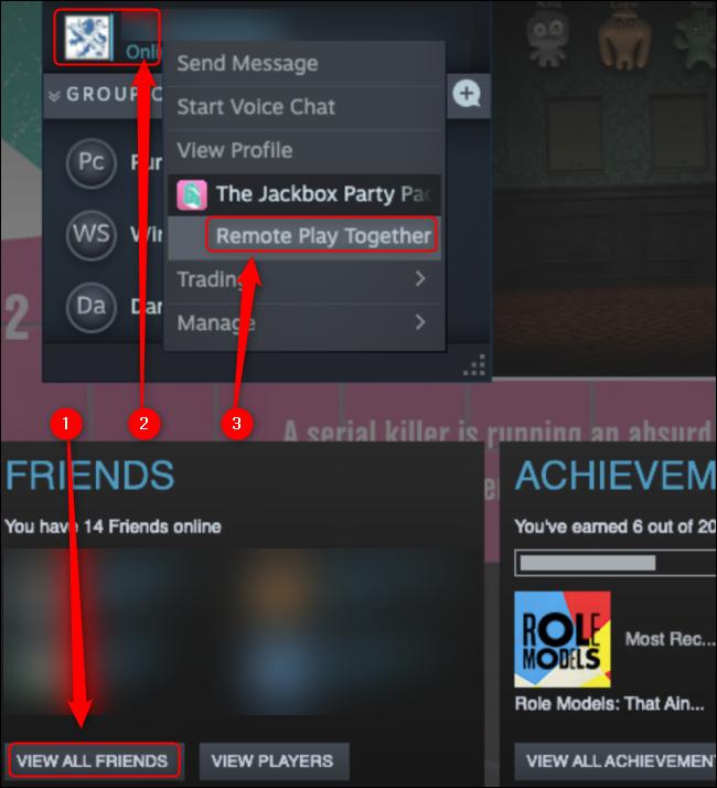 """Cliquez sur """"Afficher tous les amis,"""" cliquez avec le bouton droit sur l'ami que vous souhaitez inviter, puis cliquez sur """"Jouer à distance ensemble."""""""