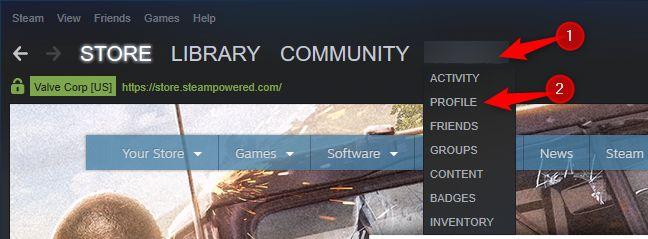 Ouvrir votre profil dans Steam