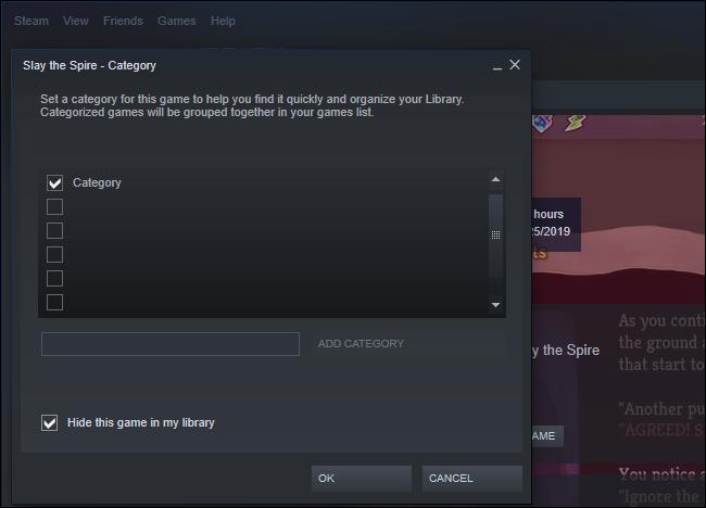 Option pour masquer un jeu dans Steam