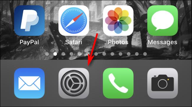 """Appuyez sur l'icône d'engrenage pour ouvrir le """"Réglages"""" app."""