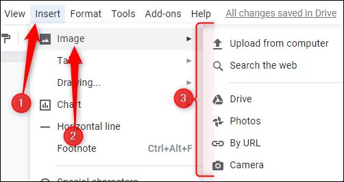 Insérer une image dans Google Docs
