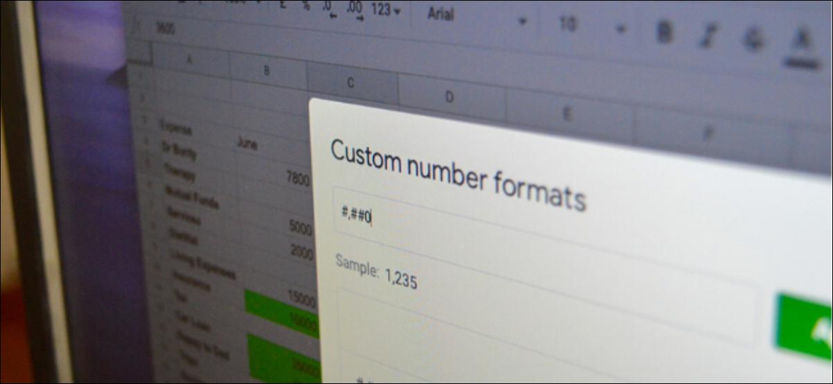 Menu Formats de nombres personnalisés dans Google Sheets sur ordinateur
