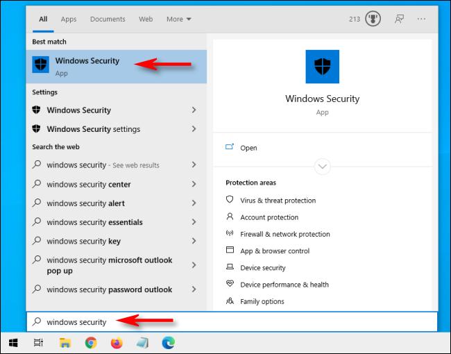 Ouvrez Démarrer et tapez Sécurité Windows sur Windows 10