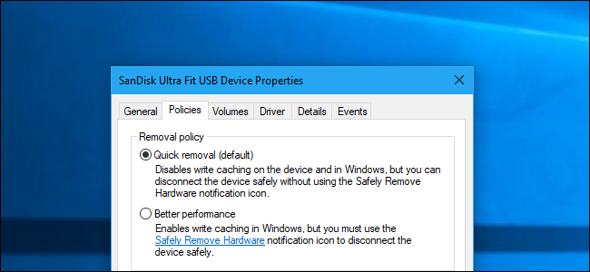 Suppression rapide et meilleures options de performances dans Windows 10