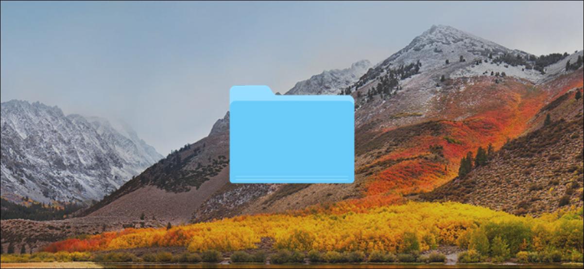 Bureau Mac avec une icône de dossier