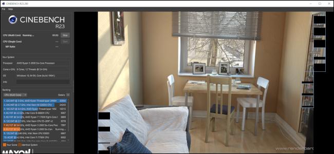 Cinenbench R23 effectue un test en restituant une image d'une table et de chaises avec un canapé au premier plan.