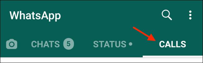 """Robinet """"Appels"""" dans la version Android de WhatsApp."""