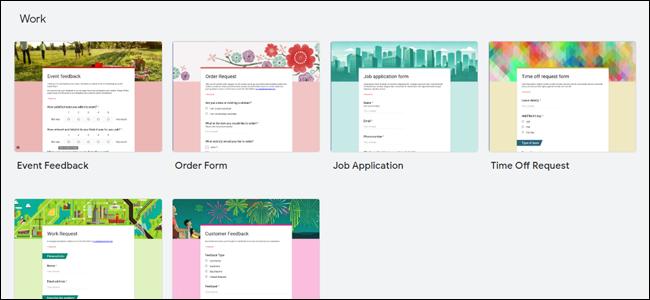 Modèles de travail Google Forms