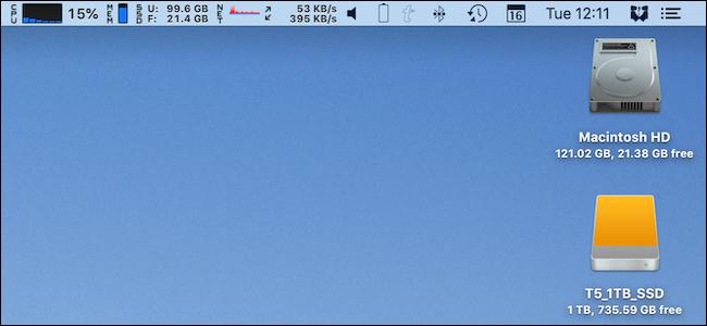 Une barre de menus complète sur un Mac.
