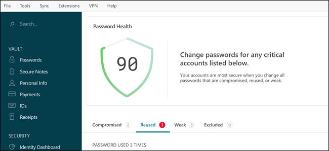 Interface Dashlane, montrant la santé du mot de passe.