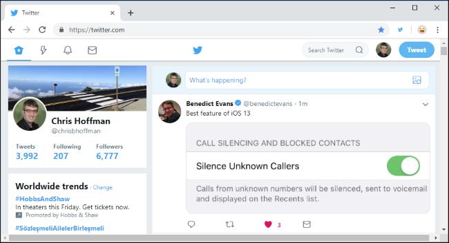 Ancien site Web Twitter dans Google Chrome