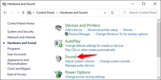 Ouverture des options de son dans le panneau de configuration de Windows 10