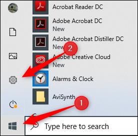 Icône Paramètres dans Windows 10