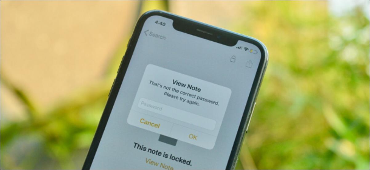 Notes Apple indiquant que le mot de passe est incorrect, invite une note verrouillée