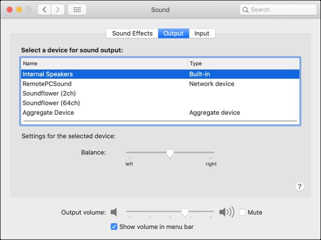 Préférences de sortie audio macOS