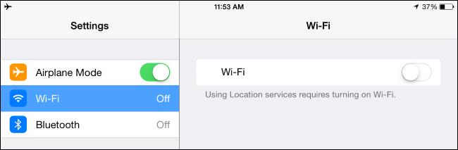 paramètres du mode avion sur iPhone